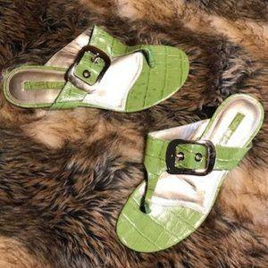 Jones New York Leather Croc Emboss Buckle Thong